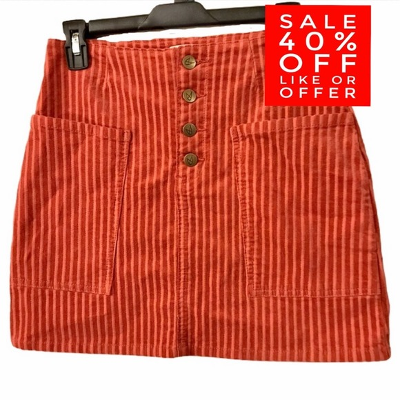MPD MINKPINK Striped Orange Corduroy Skirt Small